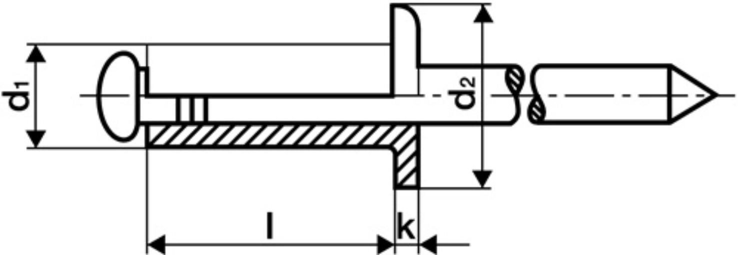 GESIPA 1433503 Blindniet  Nietschaft d x l 5 x 12 mm Aluminium // Stk 500er PACK